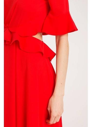 Rue Volanlı Uzun Elbise Kırmızı